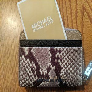 NEW MICHAEL KORS JET SET TRAVEL ZA CARD CASE SNAKE